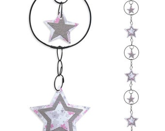 Wire - coloured Garland - pink - star wall hanging