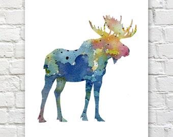 Blue Moose Art Print - Abstract Watercolor Painting - Wall Decor