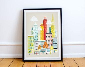New York, A4 Art Print, papier afdrukken, stadsbeeld, illustratie, stadsgezicht, kunstdruk, kinderkamer kunst, kunst voor thuis