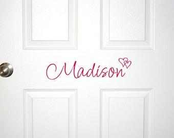 Personalized Custom Girls Name Door Decal - Hearts - Personalized Decor for Girls Bedroom Room Hearts Name Cursive Script Decorating Ideas