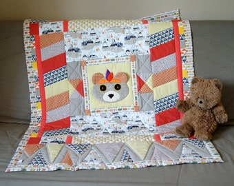Bear baby quilt - baby blanket - baby patchwork