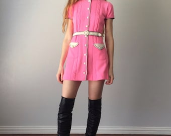 Vintage 1960s Mini Dress / 60s Micro Mini / Mod Go-Go 60s Dress / Gino Paoli Bubblegum Pink Knit / Size XS Extra Small