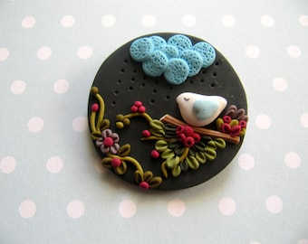 Brooch, Pins, Clips, Fimo, Bird