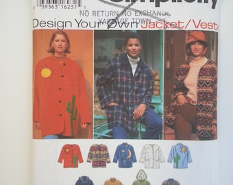 Winter coat Jacket/button down up/detachable hood/toggle clasp/loose/easy vintage 1996 sewing pattern, Size 6 8 10 12 14 16, Simplicity 9287