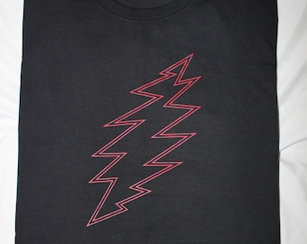 Red 13 Point Bolt Grateful Dead Shirt Black Front Print Deadhead