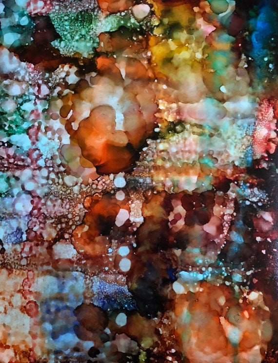 """Original Alcohol Ink Abstract Painting: """"Putting A Face To The Name"""" (11"""" X 14"""")"""