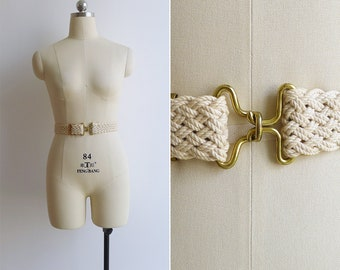 Vintage 80's Cream Braided Canvas Belt with Gold Buckle XS S