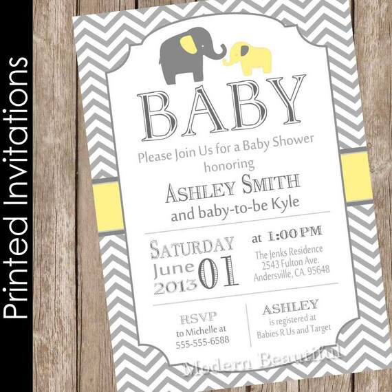 Printed Boy Elephant baby shower invitation yellow and grey