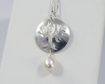 Tree of Life Necklace with a Freshwater Pearl, Hand Etched Sterling Silver
