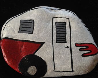 Red and White Vintage Camper Hand Painted River Rock