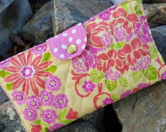 Pink and Yellow Quilted  Checkbook Cover, Floral Coupon Wallet, Fabric Checkbook