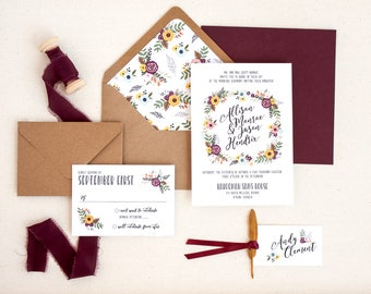 Rustic Wedding Invitations with Flower and Feather Wreath - Floral Boho Wedding Invitations with Flower Envelope Liners - SAMPLE SET