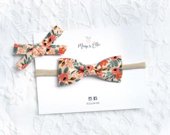 Girls Bow Headband - Rosa Floral Peach | Rifle Paper Co | Cotton | Nylon | Baby Girl | Hair Accessory | Toddler | Kids | Hair Bow
