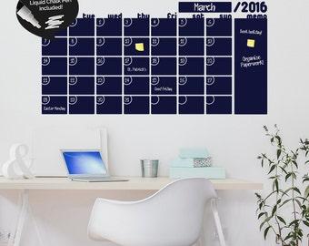 Write & Erase Adhesive Monthly Planner - Calendar Wall Decal Sticker - Liquid Chalk Marker
