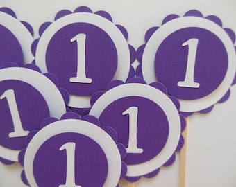 1st Birthday Cupcake Toppers - Purple and White - Girl Birthday Party Decorations - Set of 6