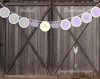 Yellow and Lavendar Princess Crown Digital Baby Shower Banner