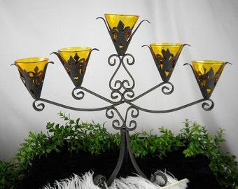 SALE Candelabra Black Wrought Iron 5 Arm Votive Candle Holder - Vintage Fleur De Lis Table Centerpiece Primitive -Rustic - Gothic