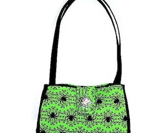 Small Green and Black Spider Web Fabric Purse