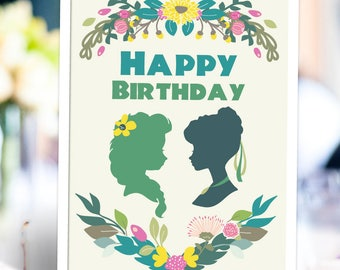 """Frozen Fever Elsa and Anna Birthday Table Sign 8.5x11"""" Printable Digital Instant Download"""