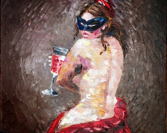 "Art Painting -  Masquerade - PALETTE KNIFE -  Art Oil Painting On Canvas By Irena Rudman - Size:16"" x 20"" (40.5 cm x 51 cm)"