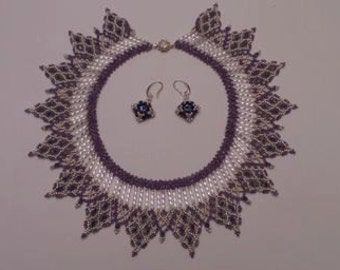 Purple and Silver Princess Necklace and Earring Set