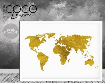 Gold world map wall art gold map faux gold foil print gold gold foil print gold world print world map print map of the world gumiabroncs Gallery