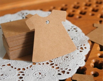 50 Blank Dress Kraft Tags - Brown Paper Tags with String