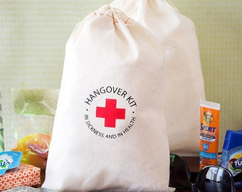 Hangover Kit Bags - Bachelorette Party Bags - Bachelorette Party Favors - In sickness and in health hangover kits - Large Hangover Kit Bags