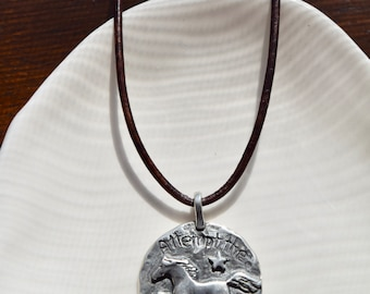 Attempt Impossible Horse Necklace, Pewter Horse pendant, Leather Necklace, Inspirational Jewelry