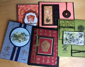 Asian themed note card set, Oriental themed note card set