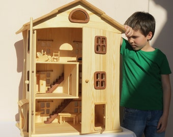 Handmade wooden dollhouse  organic Doors open / Natural Wooden Dollhouse Waldorf , Montessori , Handcrafted Toy , Toys