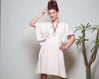 Kleid, Kimono Kleid, Bio- Leinen Kleid, Sommerkleid, Blass Rosa, Knielanges sommerkleid, Oversized Kleid, Schlichtes Kleid, Leichtes Kleid