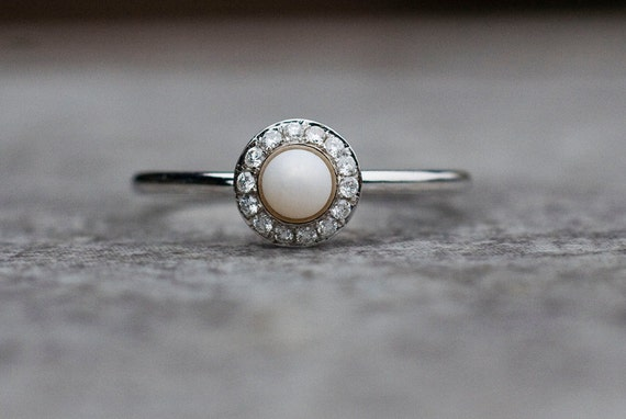 Pearl Ring Pearl And Diamonds Ring Halo Engagement Ring