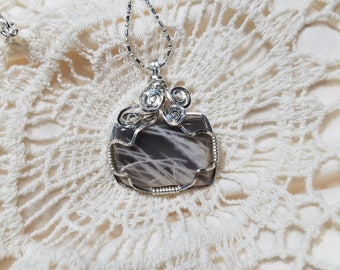 Gray and White Striped Agate Wire Wrapped Necklace