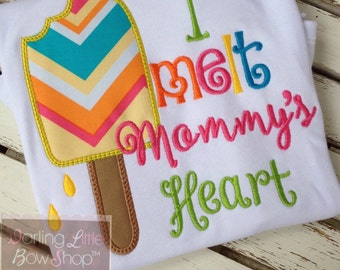 Mother's Day shirt, tank or bodysuit for girls -- I melt Mommy's Heart -- fun popsicle in chevron, yellow, hot pink, turquoise, lime green