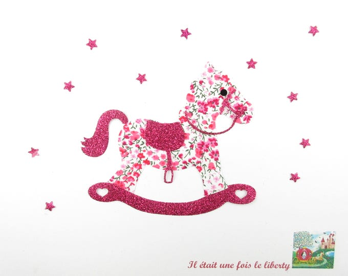 Applied fusible liberty fabric rocking horse pink flex Phoebe glittery patch iron on fusible patterns baby liberty coat
