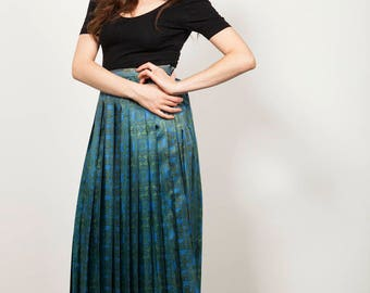 Vintage 1960s Blue and Green Printed Skirt - UK Size 8