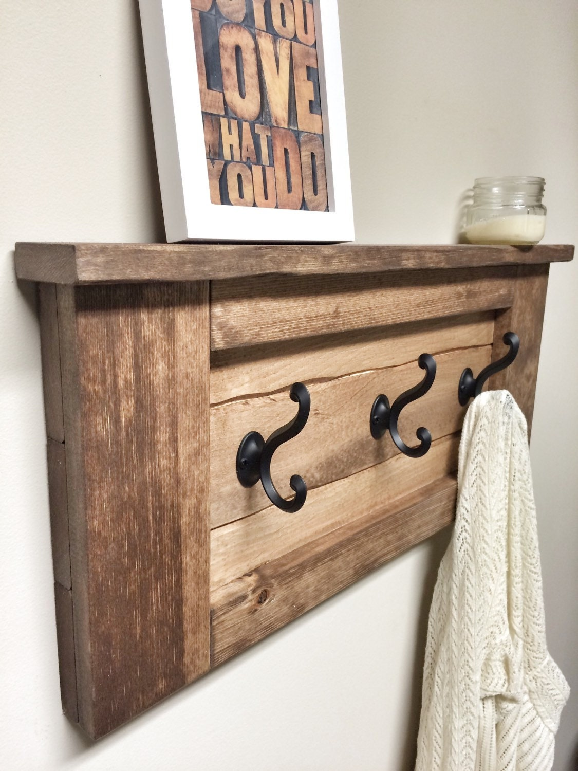 Beau Rustic Wooden Entryway Walnut Coat Rack, Rustic Wooden Shelf, Entryway  Rack, Coat Rack, Rustic Home Decor, Rustic Furniture, Floating Shelf