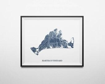 Martha's Vineyard, Massachusetts, Abstract Street Map Print