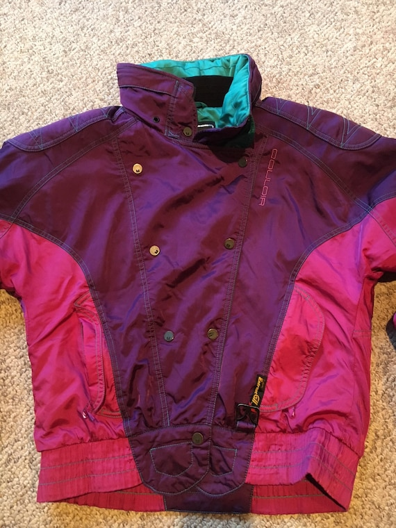 Vintage Nautica Bright Magenta Pink Winter Sport Competition Jacket with  Kelly Green Fleece Inside Warm ski 0e581b2e2c1
