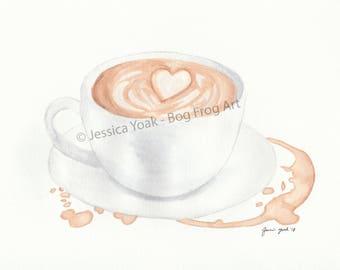 Latte Watercolor Painting