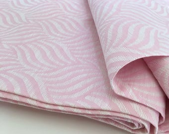 By the Yard 1960s Vintage Upholstery Fabric Woven Pink White 498-L11B