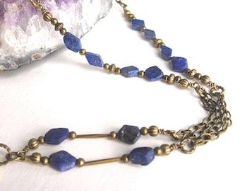 Lapis Lazuli Badge Lanyard, Blue Lanyard, ID Holder, ID Badge Necklace, Badge Holder, ID Lanyard, Beaded Lanyard, Lanyard with Badge Holder