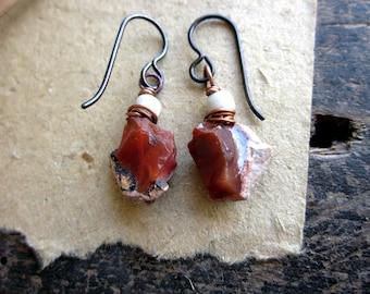 Fire opal earrings,  Raw orange organic nuggets Mexican fire opal rough Copper wire Hypoallergenic - Frozen Flames