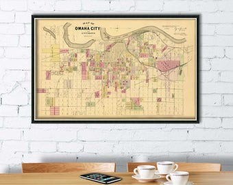 Omaha City map -  Vintage map of Omaha  City (Nebraska) archival giclee print