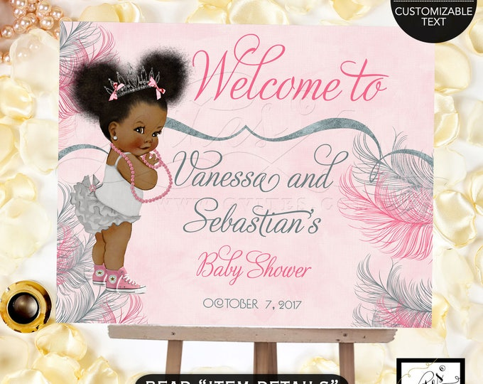 Pink and Silver welcome sign baby shower, princess african american baby girl, decorations, table signs, Afro Puffs, Digital Poster, Gvites