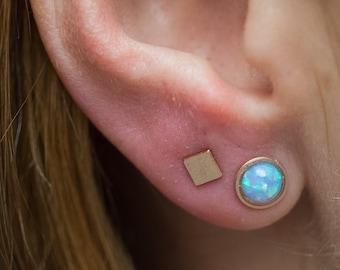 Opal Stud Earrings, Gold Opal Stud Earrings, Blue Opal Stud Earrings, October Birthstone, Small Stud Earrings, Simple Earrings, Opals