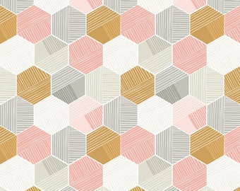 Pink Honeycomb from Blend Fabric's Sweet Dreams Collection by Maude Asbury