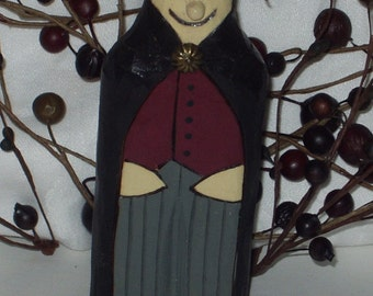 Hand Carved Halloween FLAT PEOPLE - DRACULA - Wooden Dracula