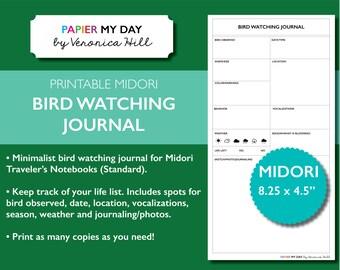 Printable Bird Watching Journal - Birders Journal / Birding Journal for Midori Travelers Notebooks